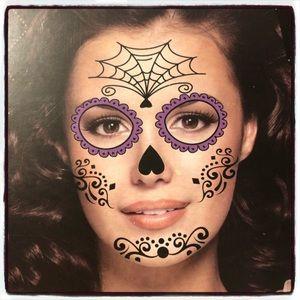 Halloween Punk Rock Sugar Skull Face Tattoo Goth
